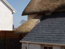 Slate and Thatch Detail.
