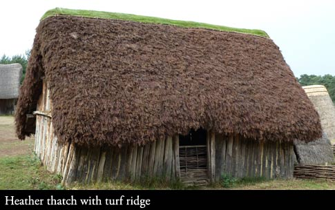Heather thatching with turf ridge at Weststow Anglo Saxon Village.