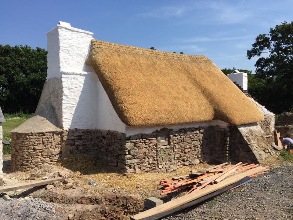 The back of the cottage thatched and lime washed