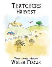 Thatchers Harvest, flour produced from the grain produced from our wheat fields