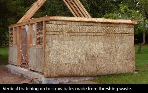 Vertical thatching on to straw bales made from threshing waste on a training structure at Ty Mawr Lime near Brecon