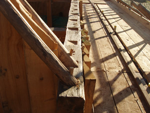 Roof timbers secured in to place
