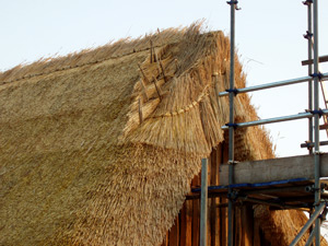Courses of thatch being applied